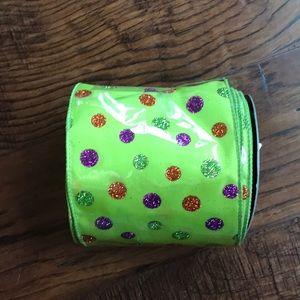 Glitter Polka Dot Halloween Ribbon